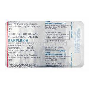 Bakflex-A, Aceclofenac and Thiocolchicoside 4mg tablets back