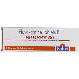 Sorest, Generic  Luvox,  Fluvoxamine Maleate 50 Mgtablets Box