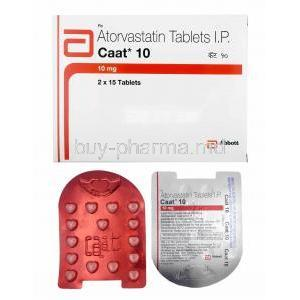 Caat, Atorvastatin 10mg box and tablets