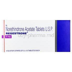Norethindrone Acetate tablets U.S.P, Regestrone, 5mg, Box front presentation