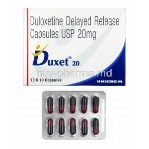 Duxet DR, Duloxetine 20mg box and capsules