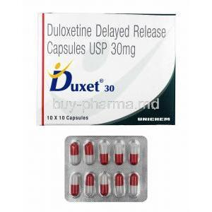 Duxet DR, Duloxetine 30mg box and capsules