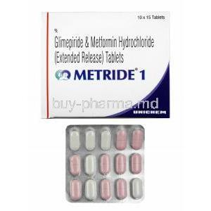 Metride, Glimepiride 1mg and Metformin box and tablets