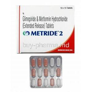 Metride, Glimepiride 2mg and Metformin box and tablets