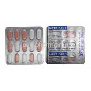 Metride, Glimepiride 2mg and Metformin tablets