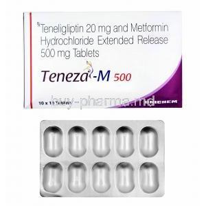 Teneza-M, Metformin 500mg and Teneligliptin box and tablets