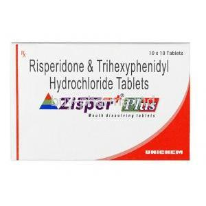 Zisper Plus, Risperidone + Trihexyphenidyl,  3mg+2mg, Tablet, box