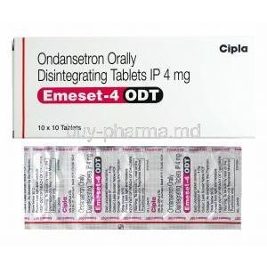 Emeset ODT, Ondansetron 4mg box and tablets