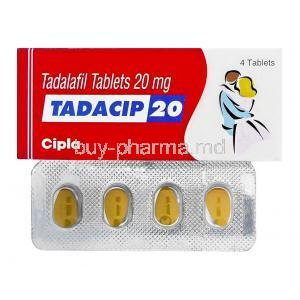 Tadacip, Tadalafil 20mg box and tablets