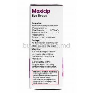 Moxicip Eye Drops, Moxifloxacin composition