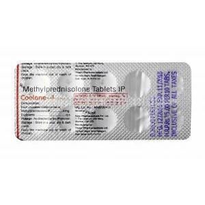 Coelone, Methylprednisolone 4mg tablet back