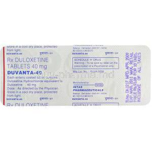 Generic Cymbalta,  Duloxetine 40 Mg Packaging