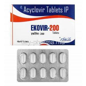 Ekovir, Acyclovir 200mg box and tablets