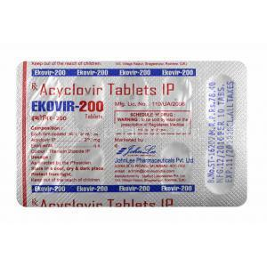 Ekovir, Acyclovir 200mg tablet back