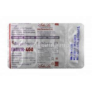 Ekovir, Acyclovir 400mg tablet back