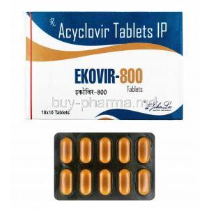 Ekovir, Acyclovir 800mg box and tablets