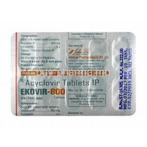 Ekovir, Acyclovir 800mg tablet back