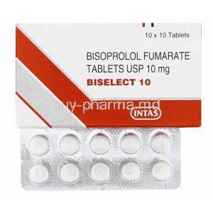 Biselect, Bisoprolol 10mg box and tablets