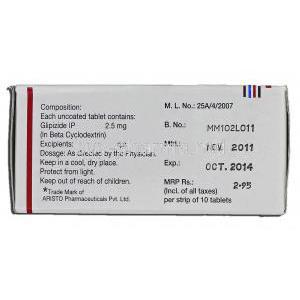 Glez 2.5, Glipizide in Beta Cyclodextrin Complex, 2.5 mg, Box description