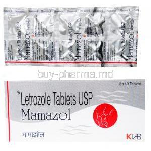 Mamazol, letrozole tablets, box front presentation