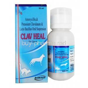 Clav Heal Dry Syrup for Pets, Amoxycillin/ Clavulanic Acid/ Lactobacillus