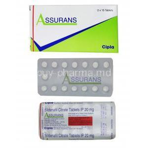 Assurans, Generic Revatio, Sildenafil 20 mg Tablet (Cipla) Box, sheet, sheet information