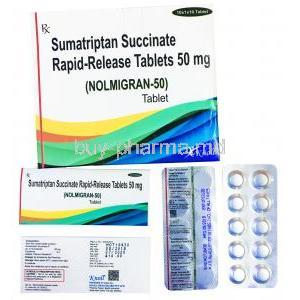 Sumatriptan Rapid Release Tablet, box and blister pack presentation