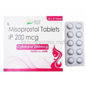 Cytoheal, Misoprostol 200mg 20 x 10 tablets, Healing Pharma, Box and blister pack front presentation