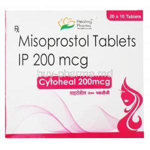 Cytoheal, Misoprostol 200mg 20 x 10 tablets, Healing Pharma, Box front presentation