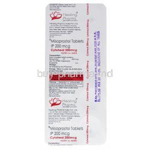 Cytoheal, Misoprostol 200mg 20 x 10 tablets, Healing Pharma, Blister pack back information