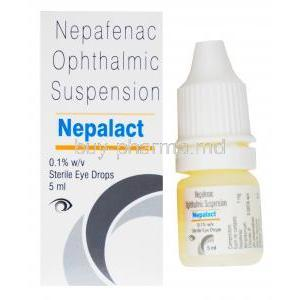 Nepalact Eye Drop, Nepafenac Ophthalmic suspension, 0.1% w/v sterile eye drops 5ml, box and bottle presentation.