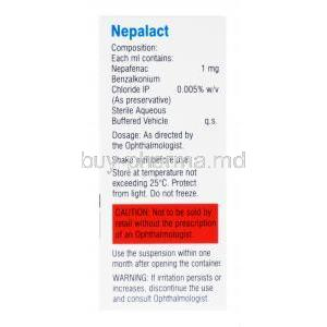 Nepalact Eye Drop, Nepafenac Ophthalmic suspension, 0.1% w/v sterile eye drops 5ml, box back presentation, with information on composition, dosage, storage, caution and warning label.