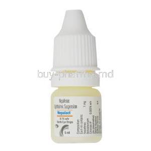 Nepalact Eye Drop, Nepafenac Ophthalmic suspension, 0.1% w/v sterile eye drops 5ml, bottle front presentation
