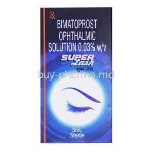 Super Lash, Bimatoprost Ophthalmic solution 0.03%, 3ml, box front presentation