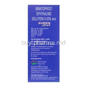 Super Lash, Bimatoprost Ophthalmic solution 0.03%, 3ml, box side presentation with dosage, warning and manufacturing information