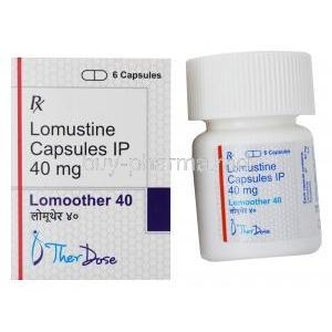Lomoother, Lomustine Capsules IP 40mg, 6 capsules, Therdose Pharma Pte ltd, Box and bottle presentation