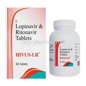 Hivus-LR, Lopinavir 200mg / Ritonavir 50mg, Veritaz Healthcare Ltd, box front presentation