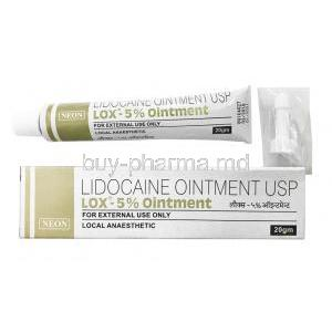 Lox Ointment, Lidocaine 5% box and tube
