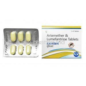 Lumiart, Artemether and Lumefantrine box and tablet