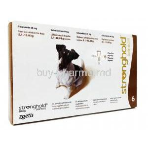 STRONGHOLD (GB) For Small Dogs 60mg (5.1-10.0 kg) 0.50ml x 6 PIpettes, Box information, usage