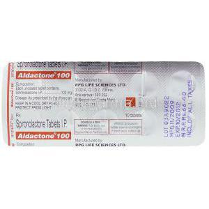 Aldactone,  Spironoloactone 100 Mg Packaging