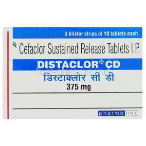 Distaclor CD, Generic  Ceclor,  Cefaclor  Box
