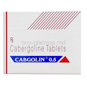 Caberlin, Generic Dostinex,  Cabergoline 0.5 Mg Tablet (Sun Pharmaceutical) Box