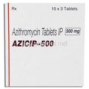 Azilup, Generic Zithromax,  Azithromycin  500 Mg Tablet (Lupin) Box