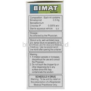 Bimat , Bimatoprost  Eye drops box composition