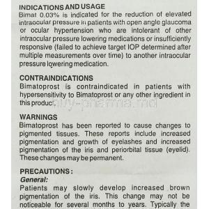 Bimat , Bimatoprost Eye drops information sheet 3