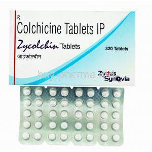 Generic Colcrys, Colchicine tablets IP, Zycolchin tablets, 320 tablets, Zydus Synovia, box front presentation with blister pack