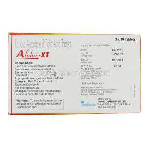 Aloha-XT, Ferrous Ascorbate/ Folic Acid  Indoco Remedies