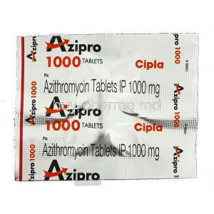 Azipro, Generic Zithromax, Azithromycin 1000 mg packaging