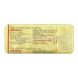 Fabulas, Generic Uloric, Febuxostat 40 mg packaging